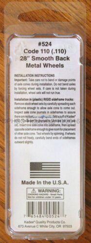 """HO Scale KADEE 524 Code 110-28/"""" Smooth Back Freight Metal Wheels 12-Sets"""