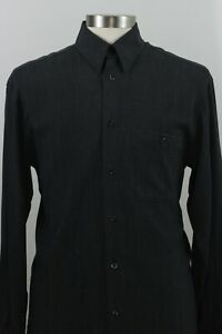 Zanella-Mens-Size-L-Button-Front-Dress-Casual-Shirt-Made-in-Italy-Rayon-Blend