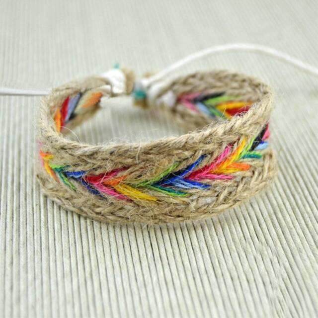 1Pc Hemp Rope Woven Bangle Hippy Boho Cotton Friendship Bracelet Jewelry A