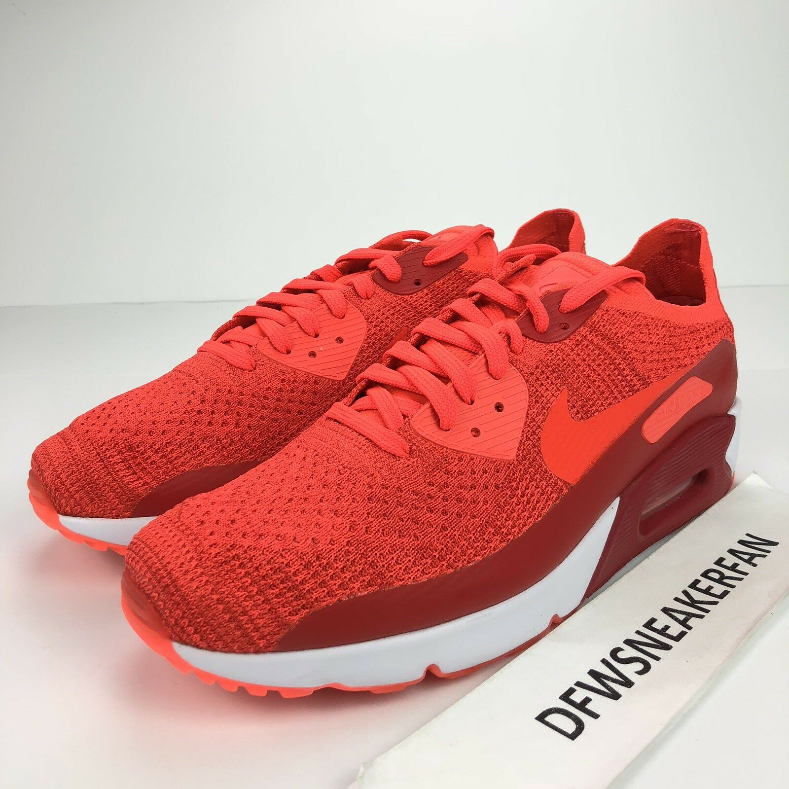 Nike Air Max 90 Ultra 2.0 Flyknit Men's 11.5 shoes Bright Crimson 875943-600 New