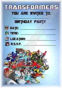 A5 CHILDRENS KIDS PARTY INVITATIONS X 12 TRANSFORMERS INVITES eBay