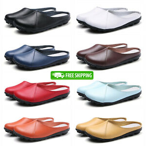 Women-039-s-Real-Leather-Flats-Backless-Loafers-Ladies-Casual-Mules-Slides-Shoes-UK