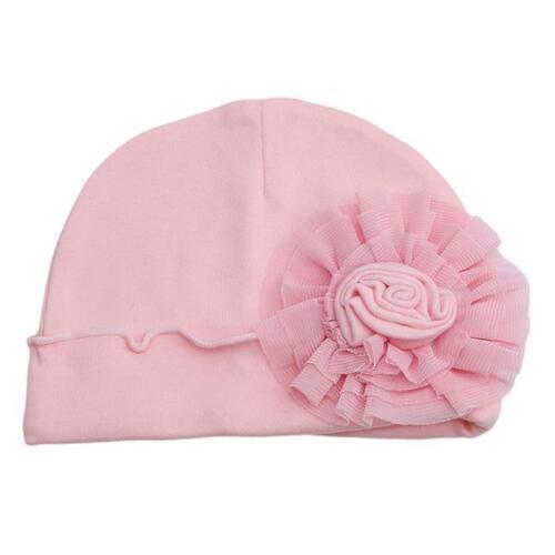 2018 Newborn Baby Girls Infant Big Flower Soft Cotton Hospital Cap Beanie Hat DD