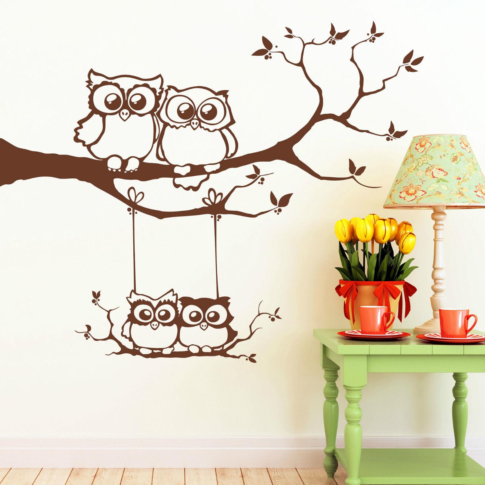 Wandtattoo Eulen Familie Eule auf Ast und Schaukel 10358 Owl Uhu Eulchen Baum