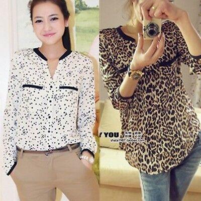 Women's Fashion Casual Stars Leopard Tin Chiffon Long Sleeve Shirt Top Blouse