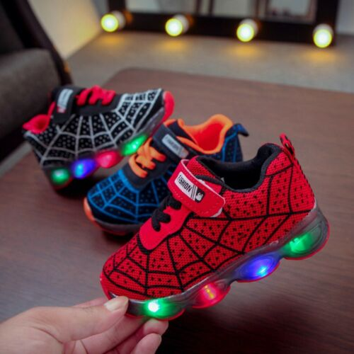 Infant Kids Baby Girls Boys Printing LED Light Luminous Sport Sneakers Shoes