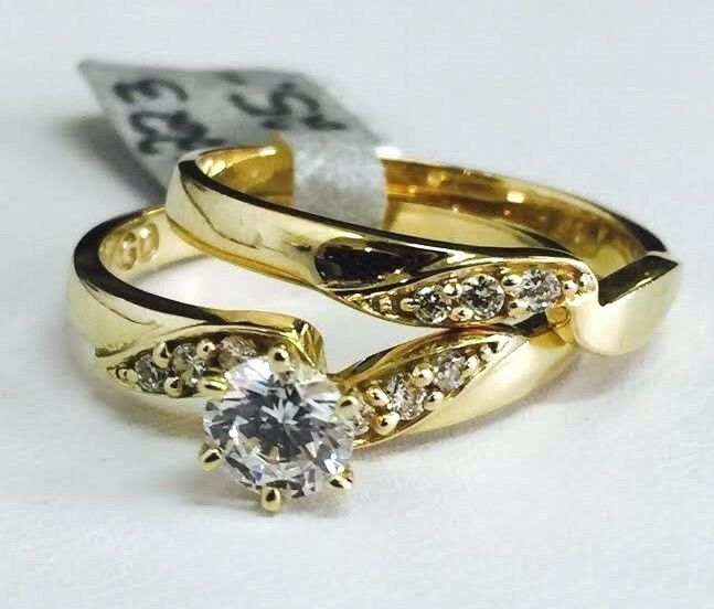 Solid 14K Yellow gold CZ Wedding Engagement Ring Set Sz 7.5, 5mm Cubic Zirconia