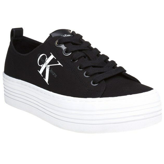 New Womens Calvin Klein Jeans Black Zolah Canvas Trainers Lace Up