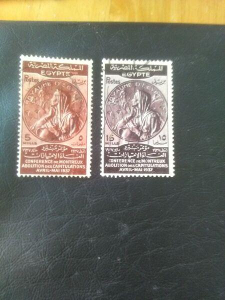 2 Used Stamps Of Egypt 1937 Traité De Montreux