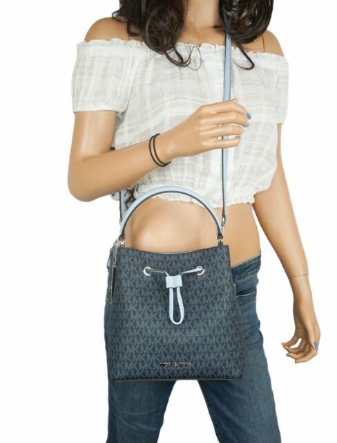 Michael Kors SURI Medium Bucket Crossbody Bag PVC Leather MK Signature Light Sky