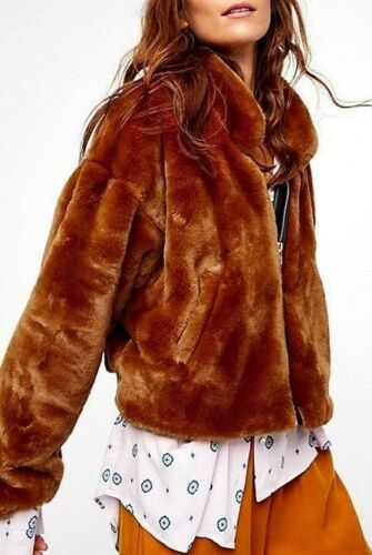Free People Furry Bomber Jacket Terracotta Faux Fur Zip Up Collared OB683845