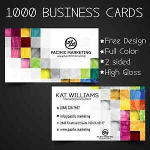 Image Is Loading 1000 Custom Full Color Business Cards Free Design