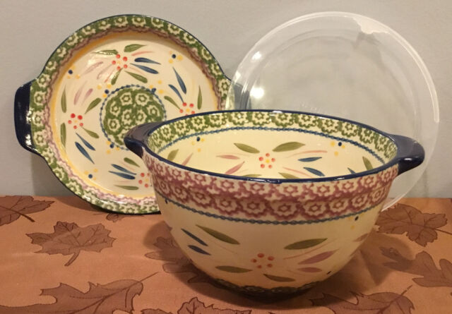 Old World Harvest Temp-tations 4.5 qt Bowl w//Wire Stand /& Ladle Punch Bowl Soup Tureen