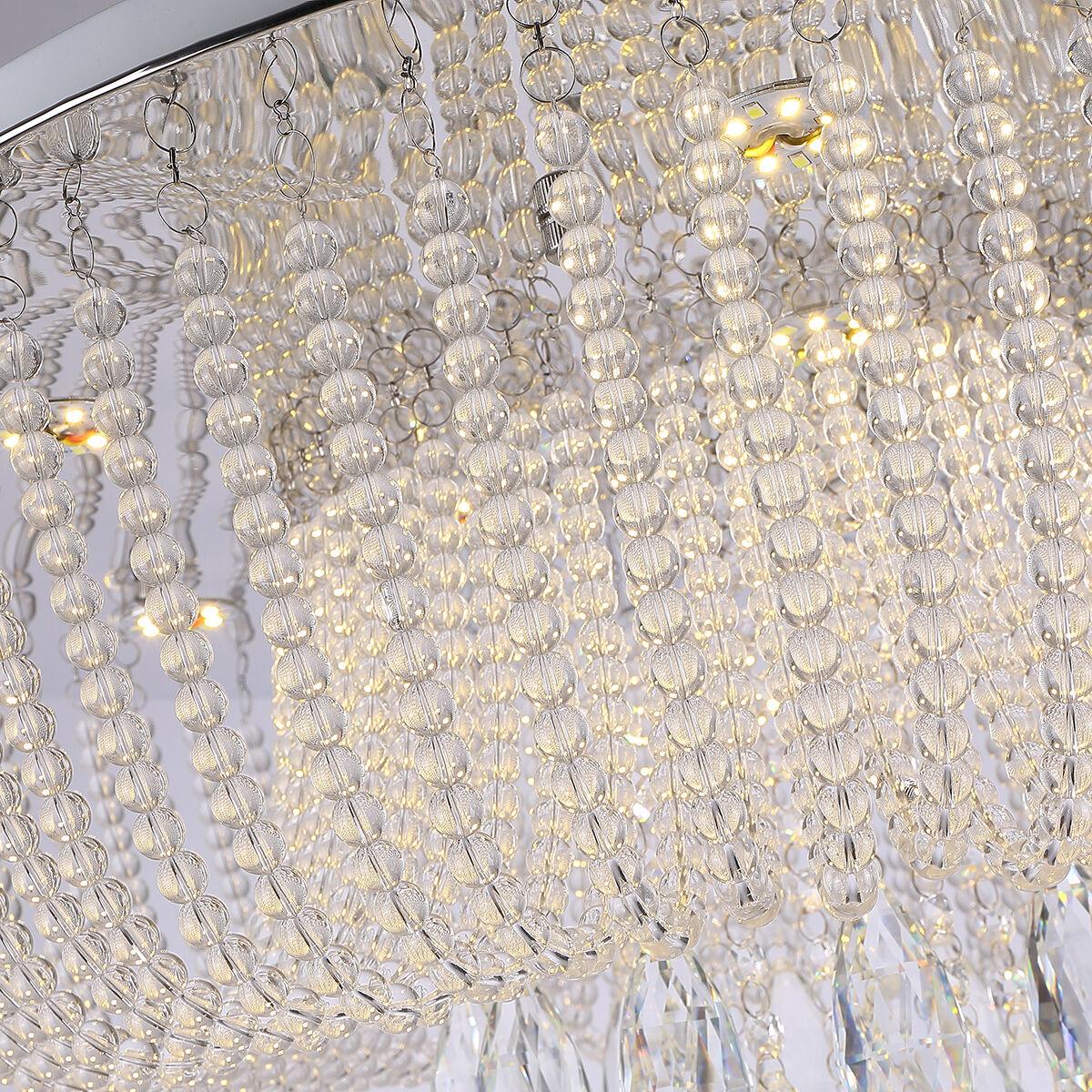 6161 Modern K9 Crystal LED Round Flush Ceiling Light Chandelier 3 Colours + Remote Control (80cm 42W)