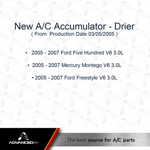 Free Style V6 Drier Fits: 05-07 Five Hundred AC A//C Accumulator Montego