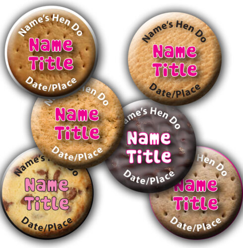 *5 for 4* Personalised Biscuit Design Hen Night//Party//Do Badge 58mm 77mm