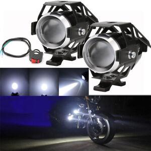 2-X-Motorcycle-Motorbike-CREE-LED-U5-Headlight-Driving-Fog-Spot-Lights-Switch