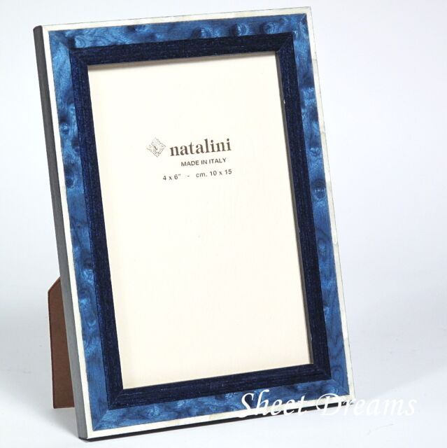 Natalini Hand Made Italy Blue White Wood Marquetry Photo Frame 4x6 5x7 Picture