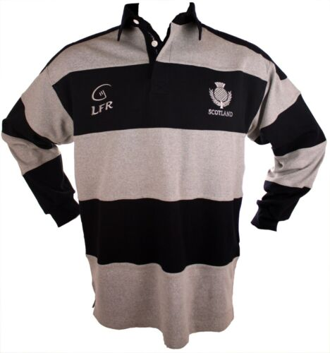Scotland Live for Rugby Navy//Grey Striped Long Sleeve Rugby Shirt Size XS-3XL
