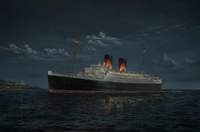 RMS Mauretania Cunard Ocean Liner Marine Painting Art Print - Robert Lloyd