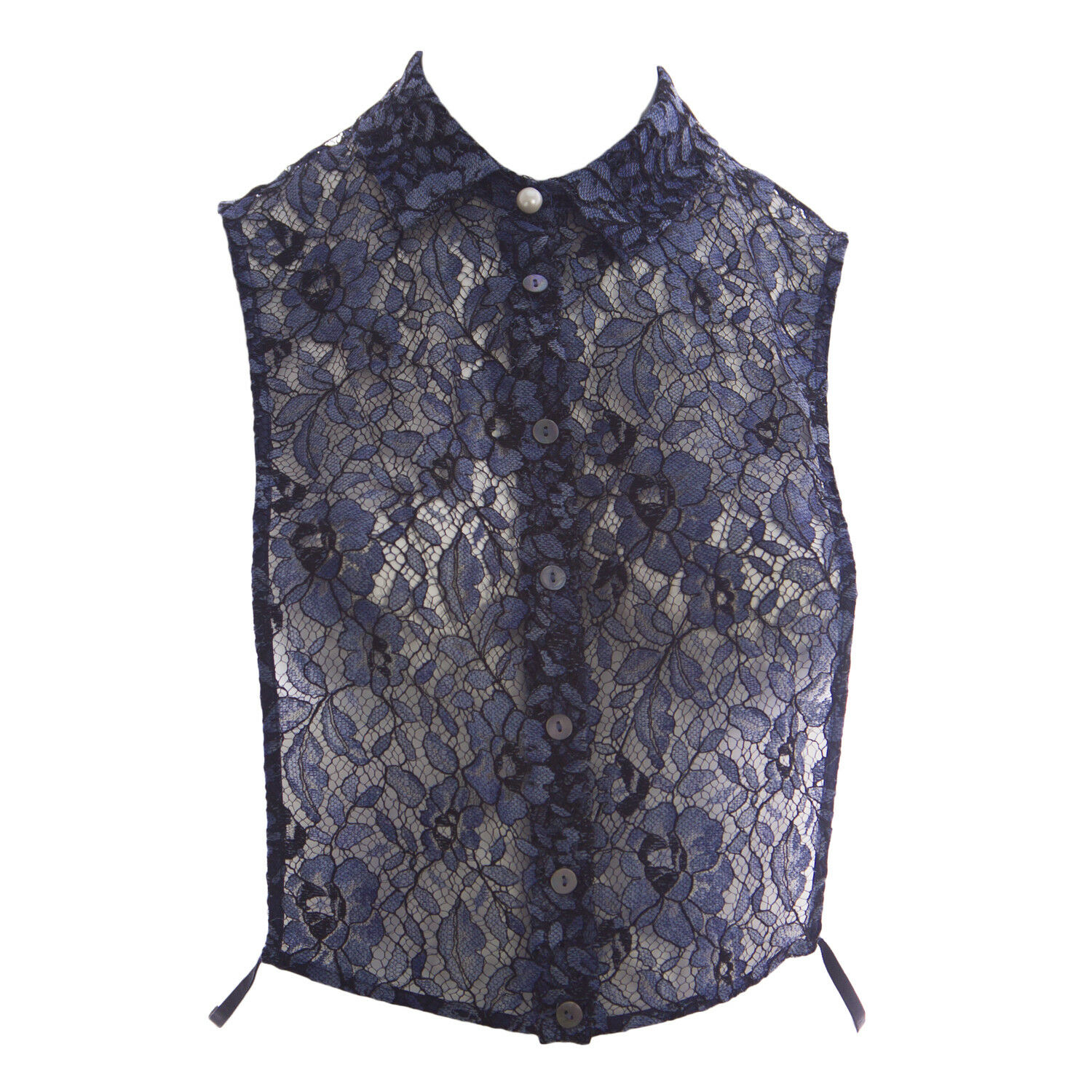 MARINA RINALDI Women's bluee Queen Sheer Lace Vest  NWT