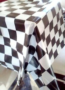 Image Is Loading Black White Checkered TABLE COVER Tablecloth Racing Cars