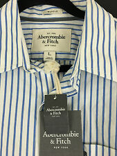 ABERCROMBIE & FITCH MEN'S BLUE WHITE STRIPED  CLASSIC CASUAL SHIRTS NWT $70.00 L