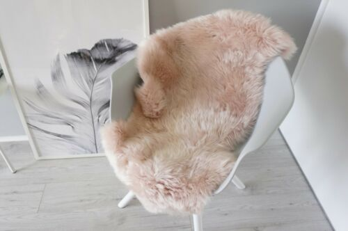 Genuine AUSTRALIAN SINGLE Sheepskin Rug-Extremely Soft Silky Blush Pink Wool