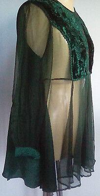 4 X Sheer Emerald Green Tops Size 12 14 Satin Velvet Elegant Boho Evening Party