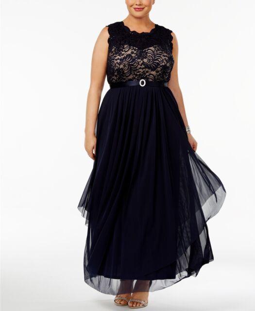 4b8d641d53cc3 R m Richards Women s Plus Size Sequined Lace Chiffon Gown 14w Navy taupe