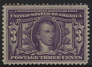 US Stamps - Scott # 325 - 3c Monroe - Mint OG Never Hinged - VF          (A-454)