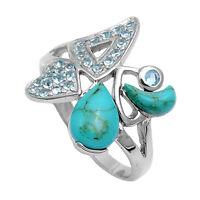 Natural Turquoise & Blue Topaz Designer .925 Sterling Silver Ring Sizes 5-9