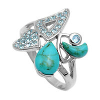 Natural Turquoise & Blue Topaz Designer .925 Sterling Silver Ring Sizes 5-9