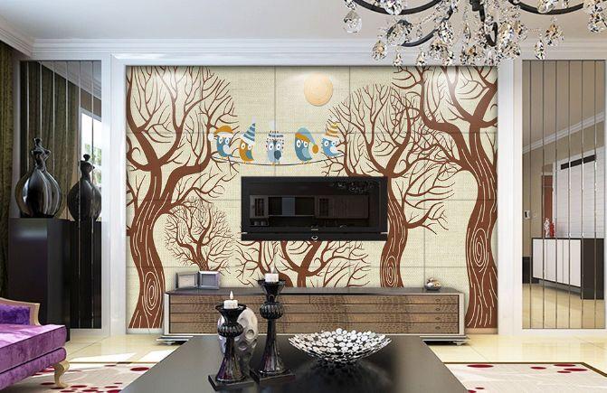 3D Bent Bäume, Vögel 2355 Fototapeten Wandbild Fototapete BildTapete Familie
