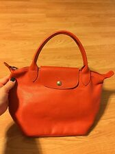 VINTAGE LONGCHAMP LE PLIAGE CUIR HANDBAG TOTE BAG ORANGE LEATHER PURSE HTF COLOR