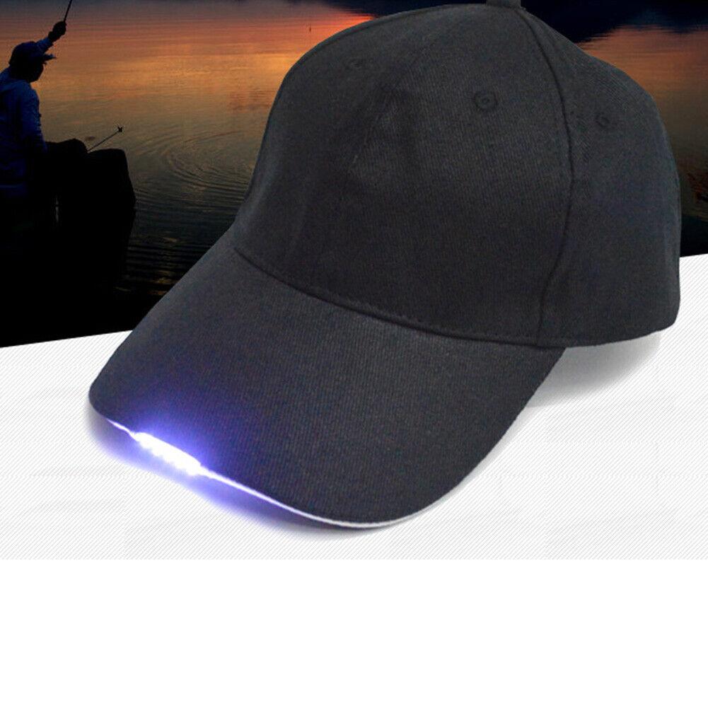 Basecap schwarz mit 5 LED Lichter Hut Angeln Camping Outdoor Wandern