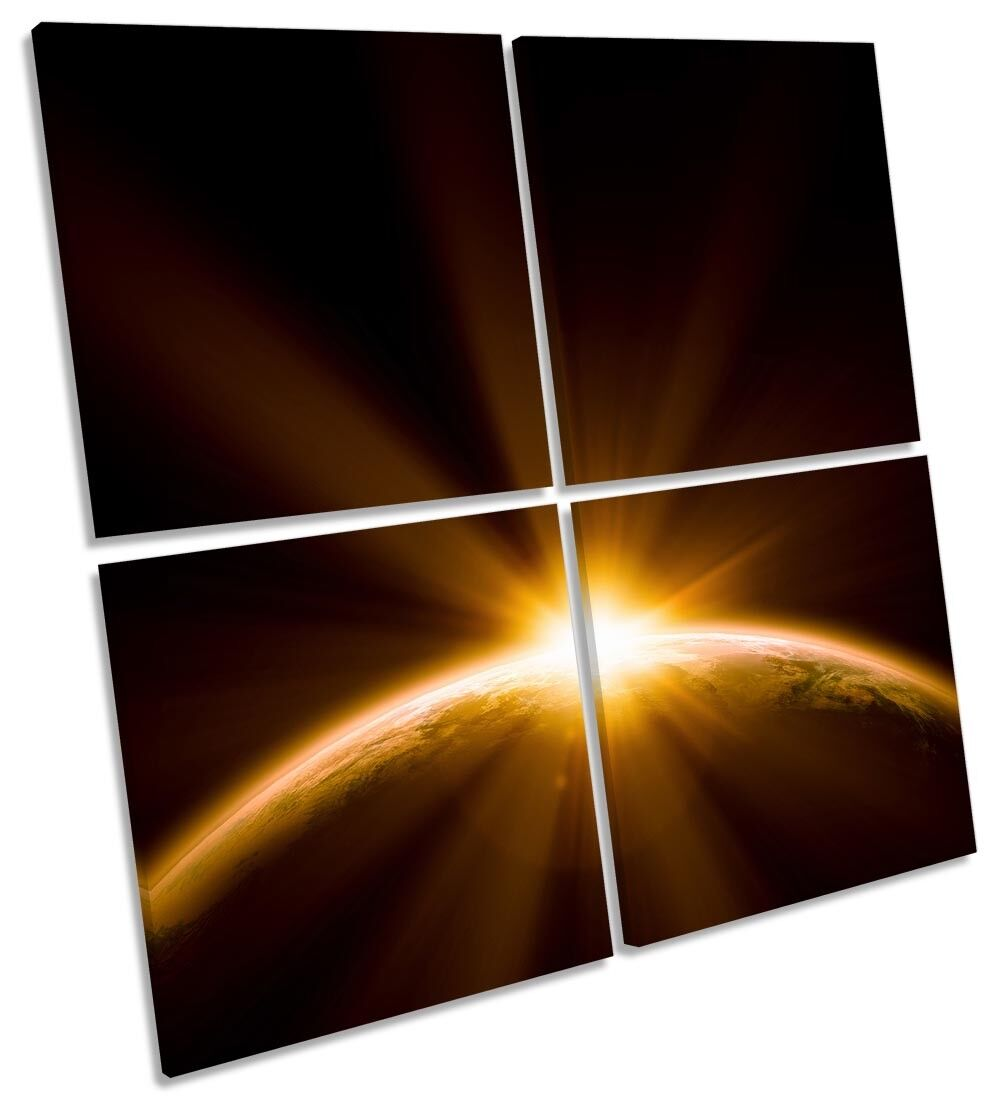 Planet Earth Sunset Astronomy Picture MULTI CANVAS WALL ART Square