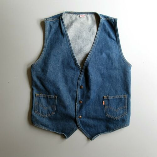Vintage 70s 80s Levis Denim Jean Vest Orange Tab L