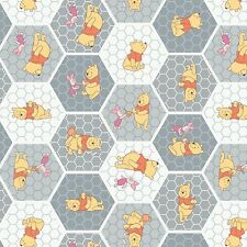 """Camelot Stone Winnie the Pooh Tea Time 100% cotton 43"""" fabric by the yard"""