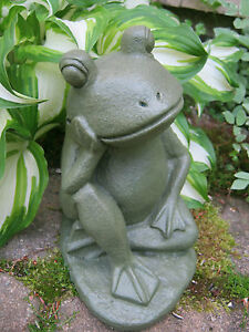 Image Is Loading Frog Statue Relaxing Frog Painted Concrete Frog Statues