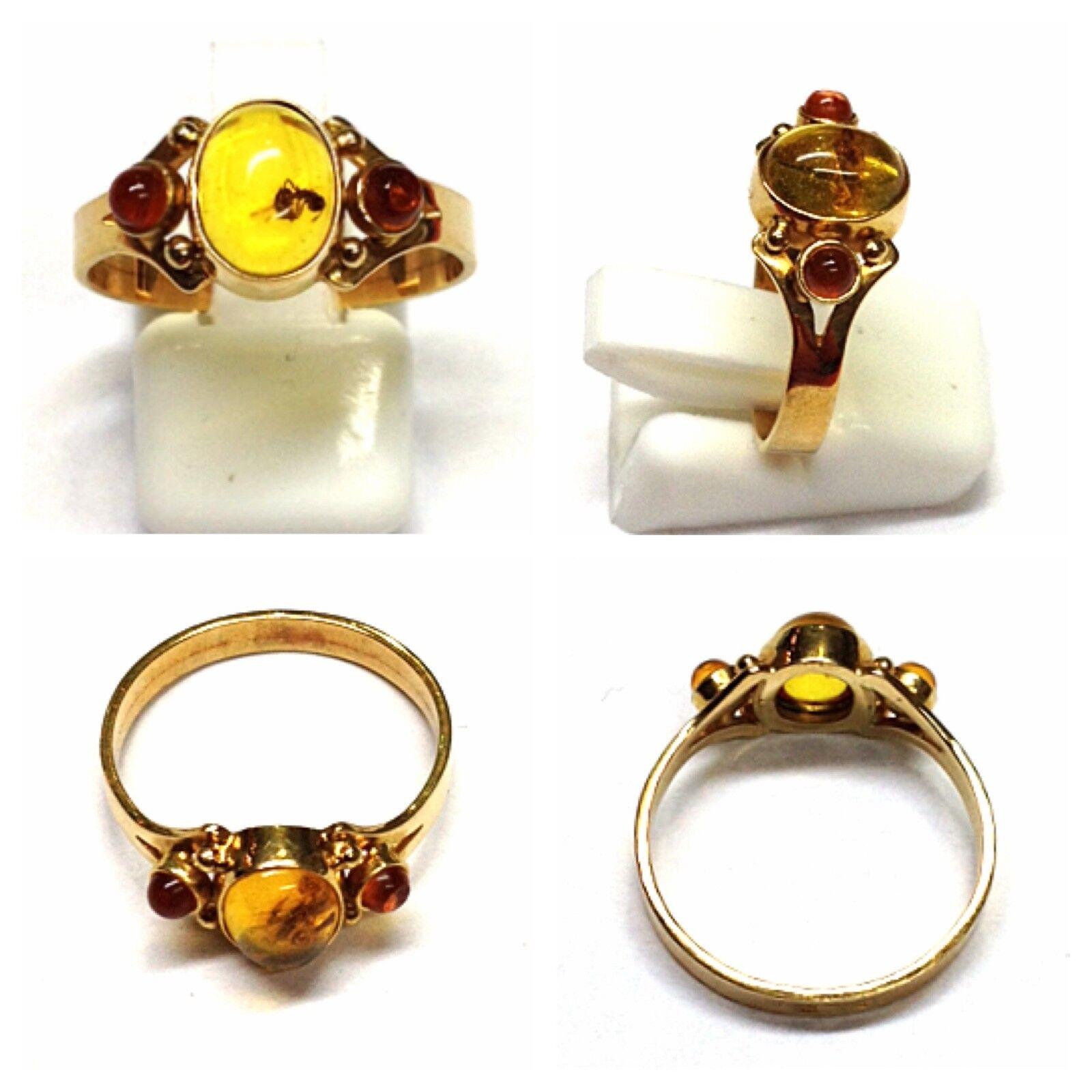 Ring 333 gold gold Ring Amber 8 Carat Amber Ring 56 (17,8 mm Ø)