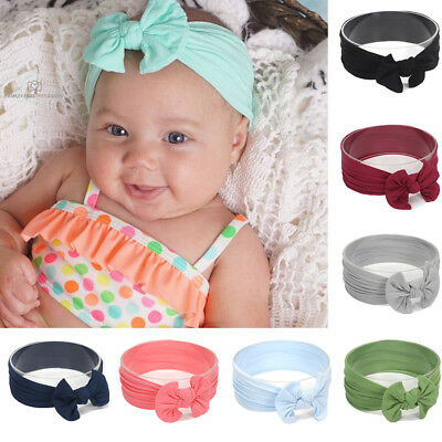 Baby Kids Child Solid Hair Band Cute Bowknot Stretchy Turban Nylon Headband