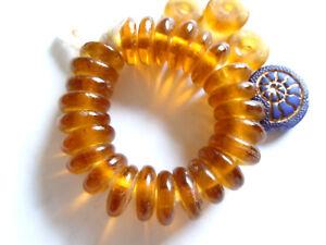 Internationale Antiq. & Kunst Perlen, Schmucksteine &-kugeln Afrikanische Bernstein Krobo-scheiben transparentes Recycleglas-25stk.-ca.12mm