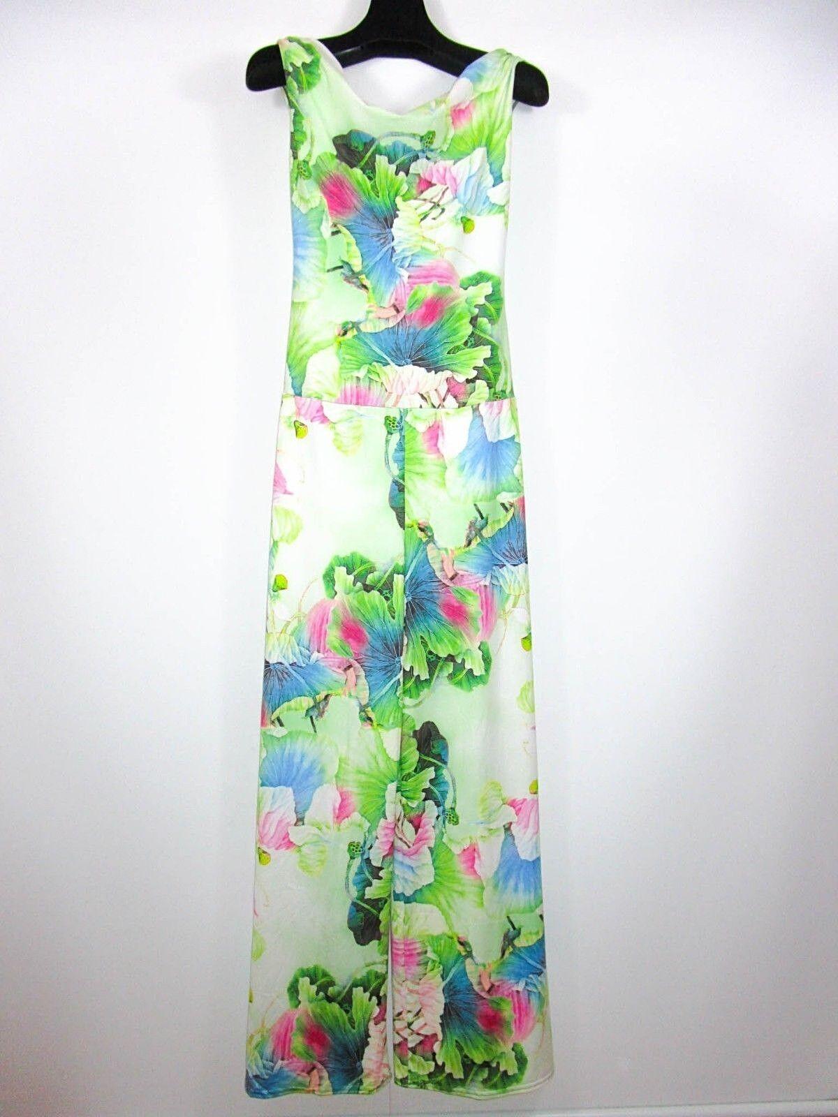 Women's Vtg Retro 90s Green Floral Print Boho Hippy Romper Jumpsuit sz L XL BI4