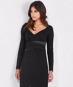 New-Lipsy-Black-Long-Sleeve-Wrap-Dress-Sz-UK-8-10