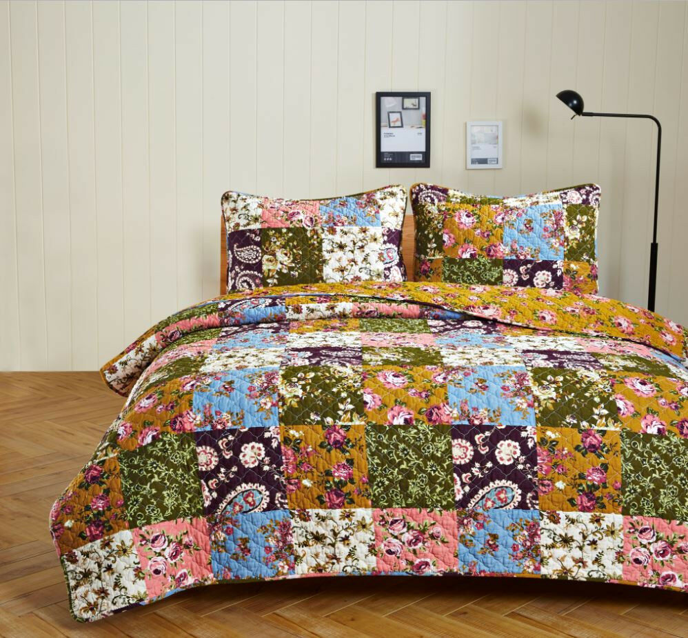 ANTIQUE BLOOM 2pc Twin Quilt Set Floral Paisley Country Cottage Garden Farmhouse