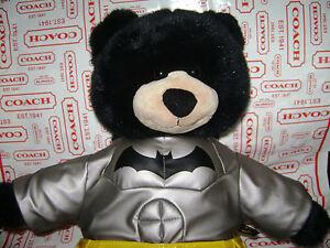 "BUILD A BEAR BLACK BEAR in BATMAN OUTFIT 17"" PLUSH STUFFED VERY CUTE RARE"