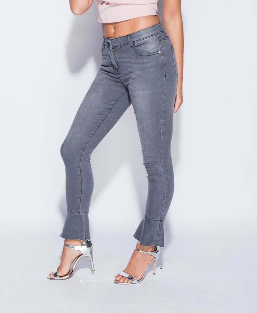 Femme Femmes Skinny Jambe Poche Zip Pleine Longueur évasée Frill Stretch Denim Jeans