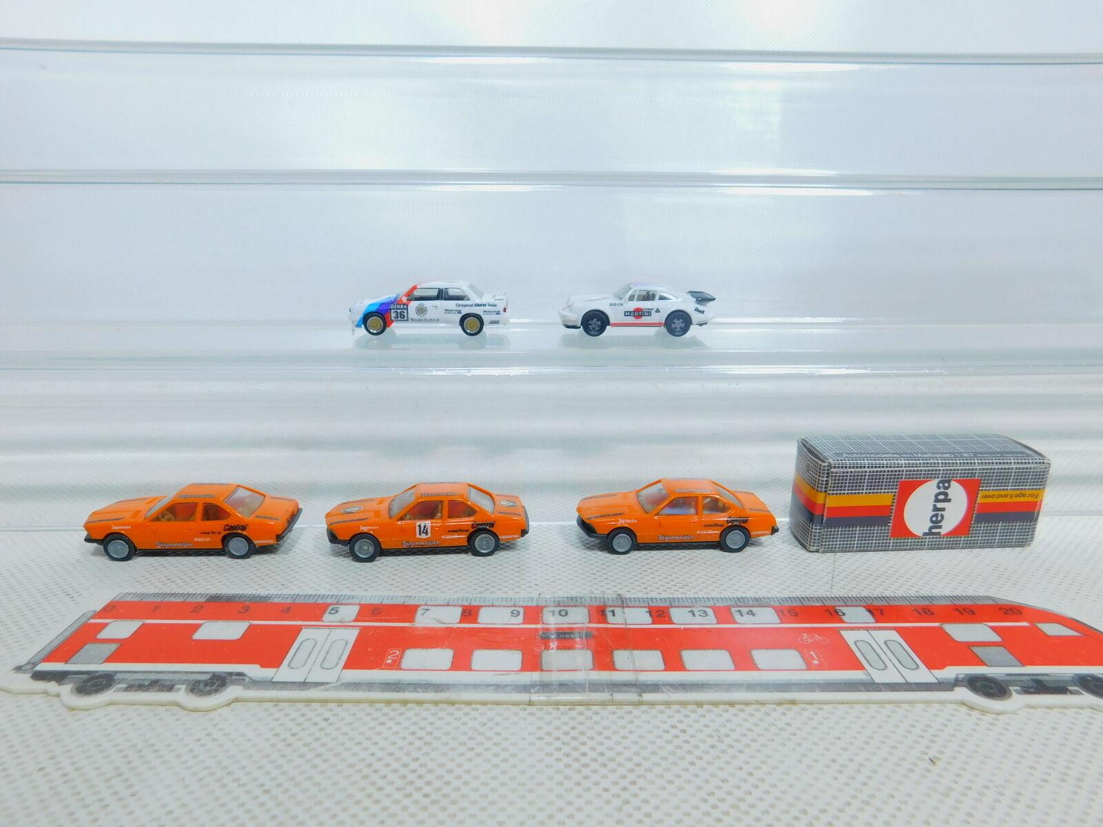 By362-0,5 x Herpa H0   1 87 Touring Car  3554 Audi +3552 Porsche +3554 BMW ,VG