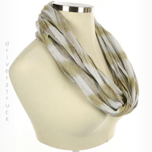 9 Lightweight INFINITY Stripe WHITE Metallic GOLD SCARF Loop NEUTRAL SCARF APT